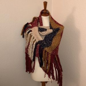 Free People fringed sweater shawl one size